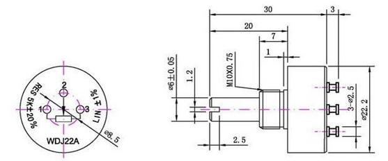 角度传感器  适用范围: ◆轴套安装型,底部接线,适用